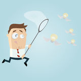 Businessman catching flying bulbs. Illustration of a businessman catching flying bulbs Stock Photo