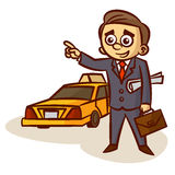 Businessman Catching a Taxi Royalty Free Stock Photos