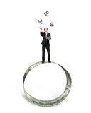 Businessman catching and throwing money symbols on money circle. Businessman  catching and throwing 3D sliver money symbols on money circle isolated in white Royalty Free Stock Photo