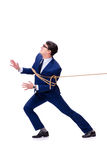 The businessman caught with rope lasso isolated on white Stock Images