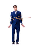 The businessman caught with rope lasso isolated on white Stock Image