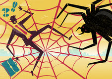 Businessman caught in a Spiders Web. Stock Photos