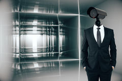 Businessman with CCTV camera head Royalty Free Stock Images