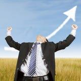 Businessman celebrate his success outdoors Stock Photos