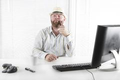 Office Worker Smoking Tobacco Pipe Royalty Free Stock Photography