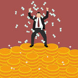 Businessman celebrates on money staircase Stock Images