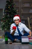 The businessman celebrating christmas at home alone Stock Photos