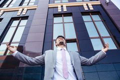 Businessman celebrating his success Royalty Free Stock Photos
