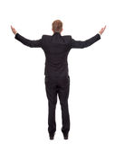Businessman celebrating with raised arms. Isolated on white Stock Photos