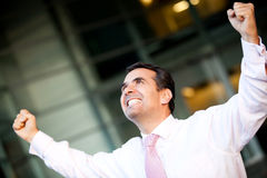 Businessman celebrating success Stock Photos