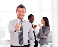 Businessman celebrating a success Royalty Free Stock Images