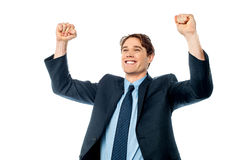 Businessman celebrating success with arms up Stock Image
