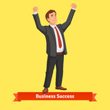 Businessman celebrating success or victory. Flat style vector illustration Royalty Free Stock Photos