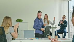 Businessman Celebrating Victory Looking at Laptop Royalty Free Stock Photography