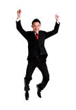 Businessman celebration success,businessman jumping. Isolated on Royalty Free Stock Photos