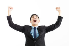 Businessman celebration success with hand up stock photo
