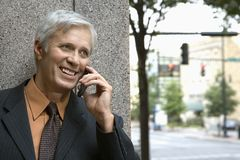 Businessman on cell phone. Royalty Free Stock Photos
