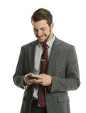 Businessman on the cell phone Stock Images