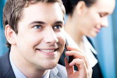Businessman with cellphone Royalty Free Stock Images