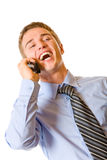Businessman on cellphone Royalty Free Stock Images