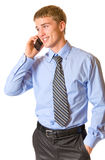 Businessman on cellphone Royalty Free Stock Image