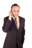 Businessman and cellphone Stock Image