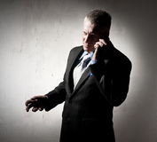 Businessman with a cellular phone Royalty Free Stock Images