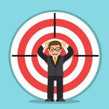 Businessman in the center of the target royalty free illustration