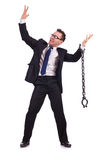 Businessman with chain isolated Royalty Free Stock Photography