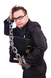 Businessman with chain isolated Royalty Free Stock Image