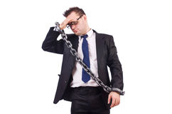 Businessman with chain isolated Stock Photo