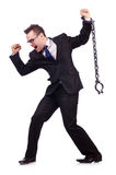 Businessman with chain isolated Stock Photography