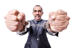 Businessman with chain isolated Royalty Free Stock Photos