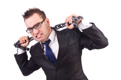 Businessman with chain Stock Photography