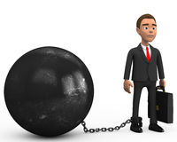Businessman chained to a large ball. 3d Businessman chained to a large ball Stock Photos
