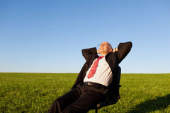 Businessman On Chair In Grassy Field Stock Photography