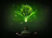 Businessman in chair sitting in front of a glowing tree. Young businessman sitting in office chair with a glowing tree and letters above his head Royalty Free Stock Images