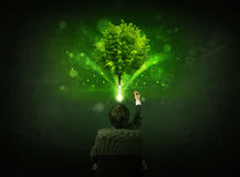 Businessman in chair sitting in front of a glowing tree. Young businessman sitting in office chair with a glowing tree and letters above his head Stock Images