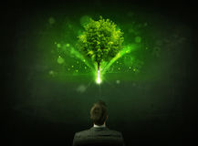 Businessman in chair sitting in front of a glowing tree. Young businessman sitting in office chair with a glowing tree and letters above his head Royalty Free Stock Image