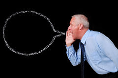 Businessman chalk speech bubble Royalty Free Stock Photos