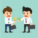 Businessman change bulb idea and money vector illustration Stock Photo