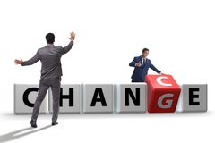 The businessman in change and chance concept. Businessman in change and chance concept stock photos