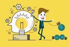 Businessman Change light bulb. Ideas Concept. Stock Photo