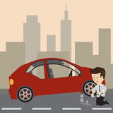 Businessman change a tire. Businessman use a jack to change a tire. Vector Stock Photo
