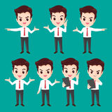 Businessman character actions Royalty Free Stock Photo