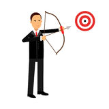 Businessman character aiming target with bow and arrow, business challenge and success  Illustration. On a white background Royalty Free Stock Image