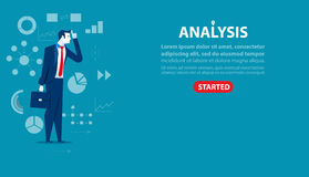 Businessman character an analysis. Concept business illustration. Banners of websites and more. Template Royalty Free Stock Photo