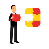Businessman character assembling colorful jigsaw puzzle Illustration. On a white background royalty free illustration