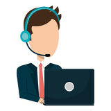 Businessman character avatar operator call center icon. Businessman character operator call center icon vector illustration design Stock Photography