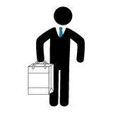Businessman character avatar with shopping bag Stock Images